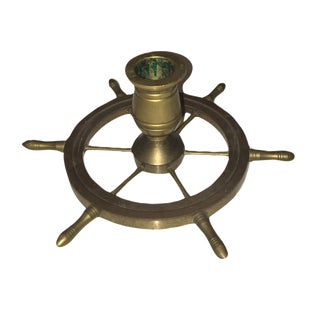 1970's Nautical Steering Wheel Candle Holder