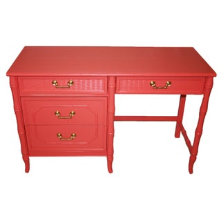 Broyhill Coral Faux-Bamboo and Rattan Desk