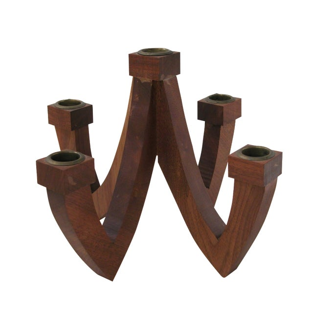 Mid-Century Wood Candle Holder - Image 1 of 9
