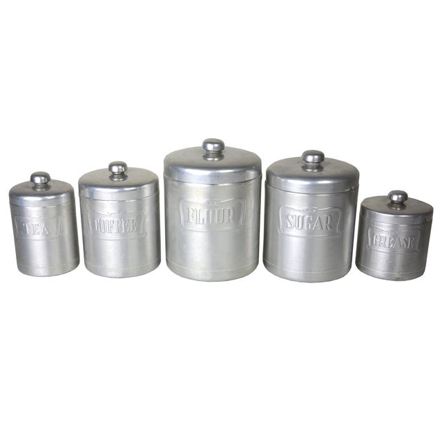 Image of Vintage Italian Silver Canisters - Set of 5