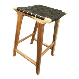 Woven Black Leather Strap Backless Bar/Counter Stool