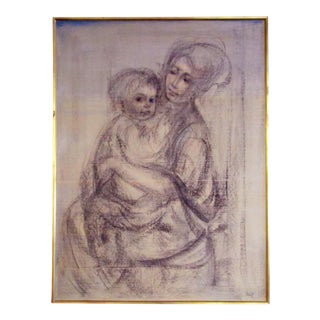 'Study of Mother and Child' Signed Portrait
