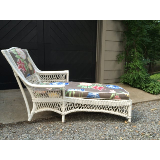 Antique white wicker chaise lounge chairish for Antique wicker chaise