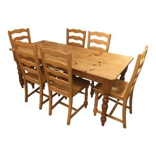 Pine Farm House Dining Set With Six Chairs