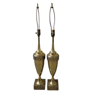 Hollywood Regency Brass Stiffel Greek Key Table Lamps - Pair