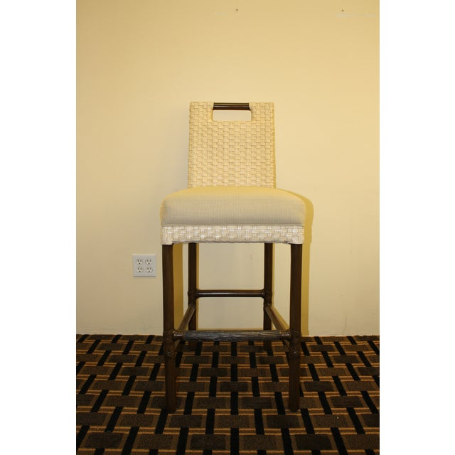 McGuire Thomas Pheasant Woven Leather Bar Stool - Image 3 of 7
