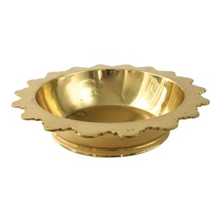 Vintage Scalloped Edge Brass Bowl
