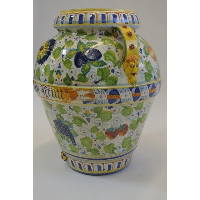 Italian Majolica Fruit Painted Urn - Image 3 of 7