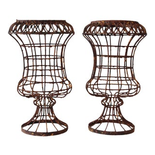 Caged Wire Urns - A Pair