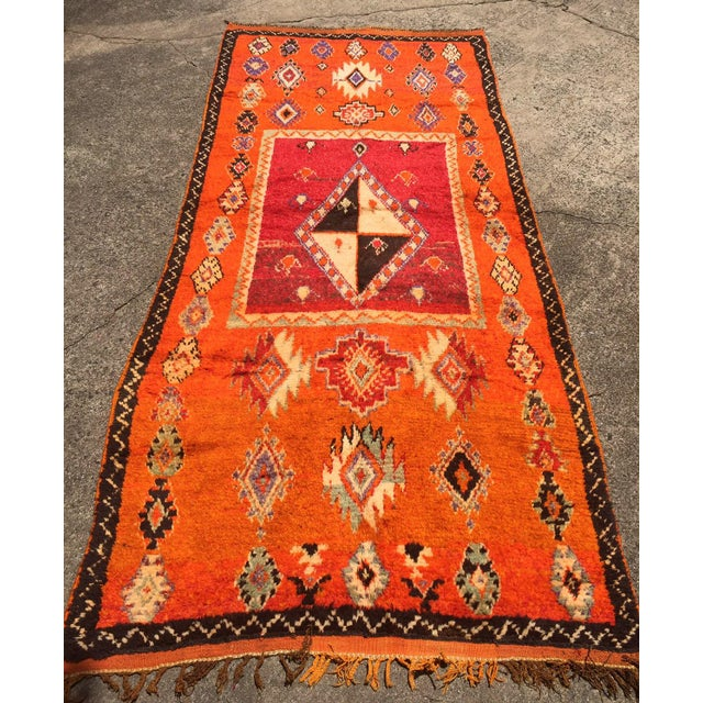 "A Very Old Fine and Rare Vintage Orange Moroccan Azilal Rug - 4'2"" X 10' - Image 3 of 5"