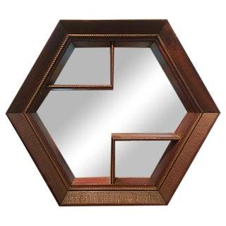 Octagonal Mirrored Wood Display Shelf