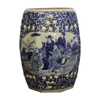 Chinese Blue & White 8 Immortals Porcelain Octagonal Stool