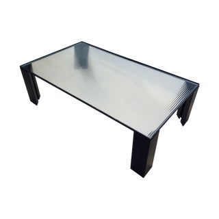 Italian Black Cocktail Table with Rib Glass Top