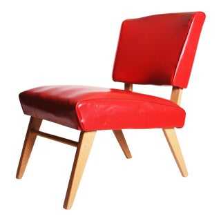 Mid Century Modern Red Viking Artline Slipper Chair