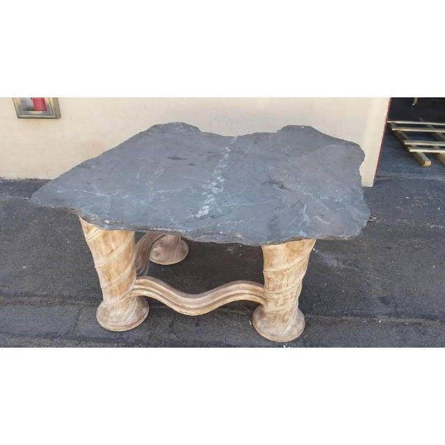 Free Form Slab Slate Top & Wood Base Table - Image 2 of 8
