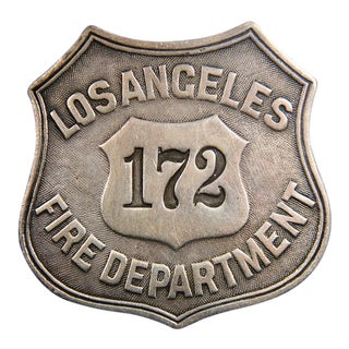 """Los Angeles """"Fire Department 172"""" Antique Sterling Silver Badge"""