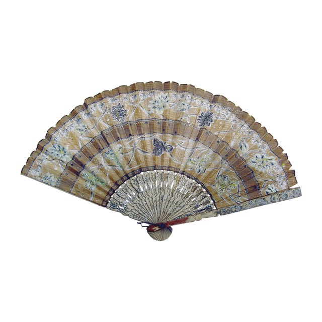 Image of Vintage Hand Painted Paper Fan