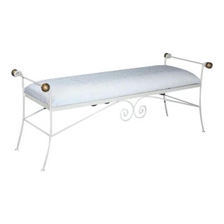 """Vintage 54"""" French Styl White Gold Wrought Iron Window Bench Metal Hollywood Regency"""