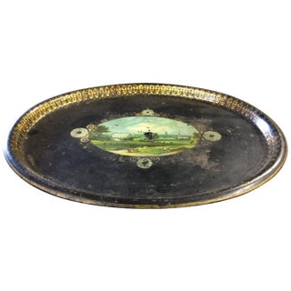 Shabby Chic Black Antique Tole Tray