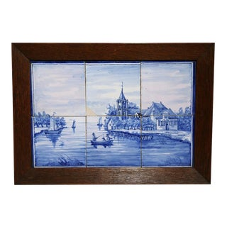 19th Century Framed Blue & White Delft Harbor Scene Tiles