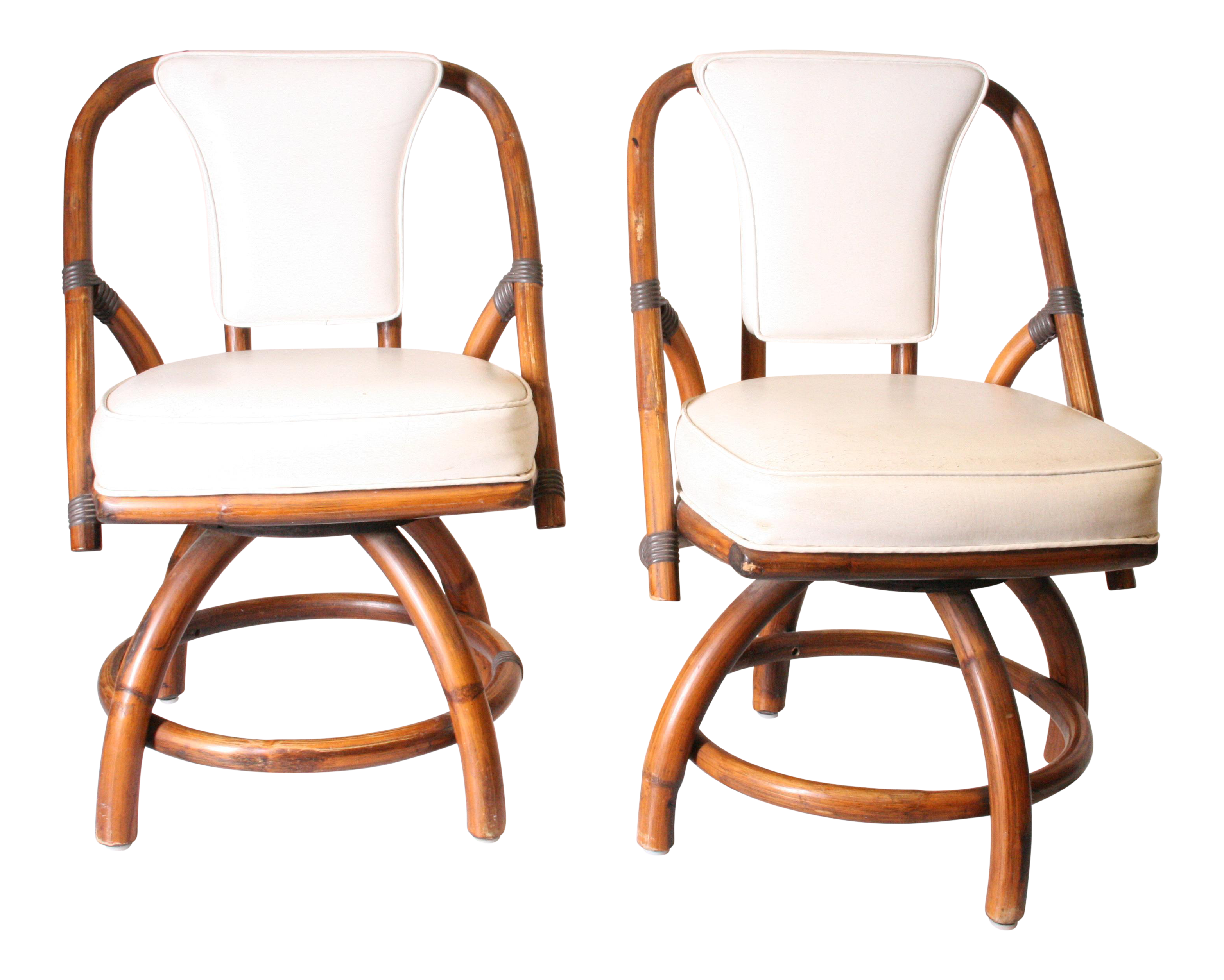Boho Chic Bamboo U0026 Rattan Swivel Chairs   A Pair   Image 1 Of 11