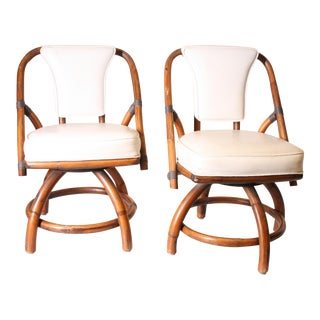 Boho Chic Bamboo & Rattan Swivel Chairs - A Pair