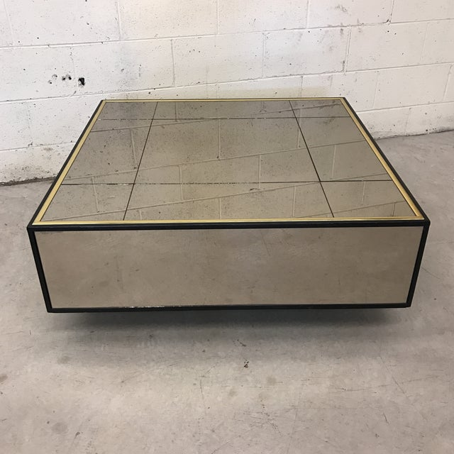 Smoke Bronze Mirror Cube Coffee Table - Image 2 of 11