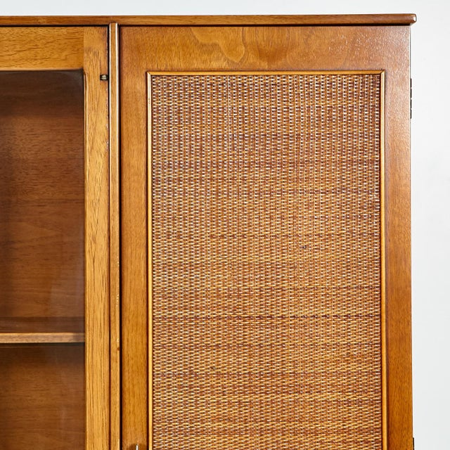 60s Drexel Caned Front Hutch on Hairpin Legs - Image 3 of 8