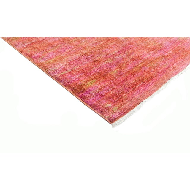 Vibrance, Hand Knotted Pink Wool Runner Rug