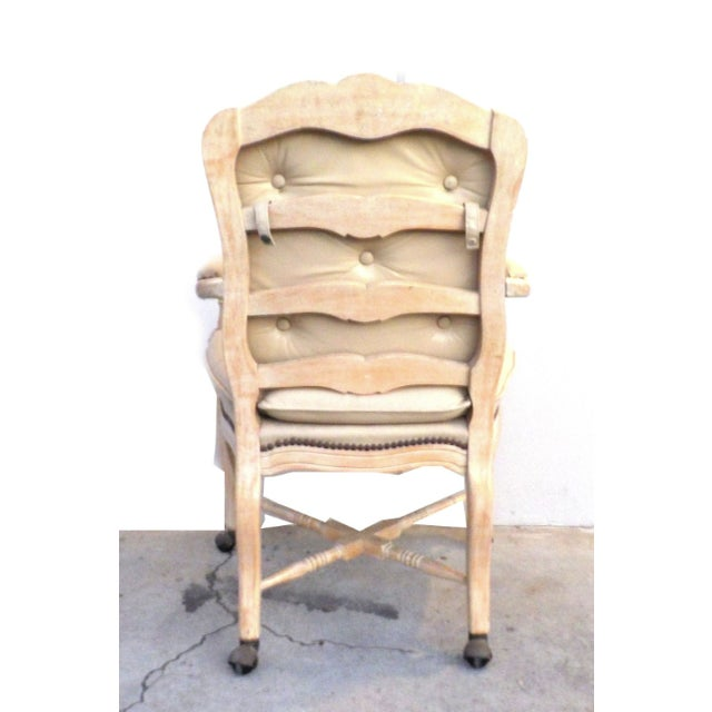 victorian white washed wood leather office chair chairish. Black Bedroom Furniture Sets. Home Design Ideas
