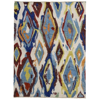Modern Moroccan Rug with Contemporary Abstract Design - 10'4 x 13'7
