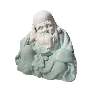 Vintage Japanese Ceramic Sculpture of Old Wise Man