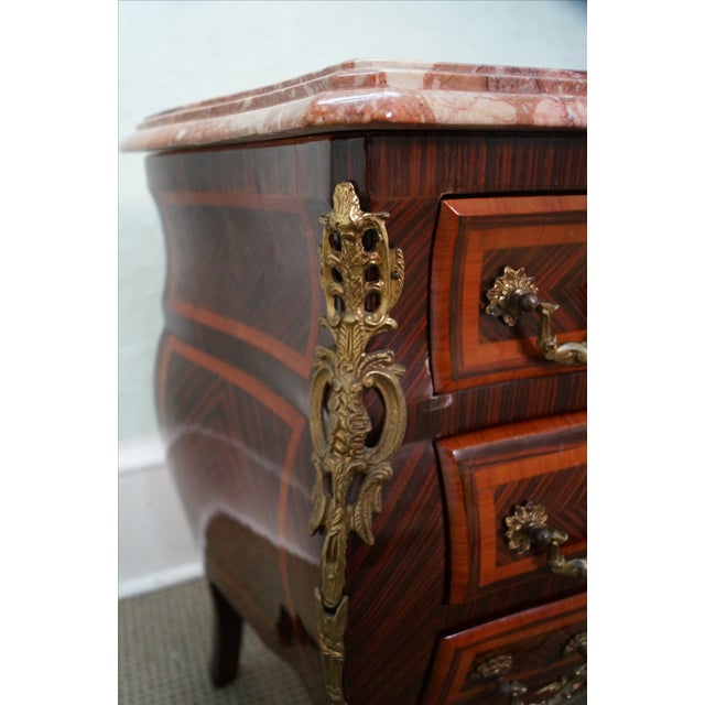 French Louis XV Marble Top Bombe Chests - 2 - Image 8 of 10