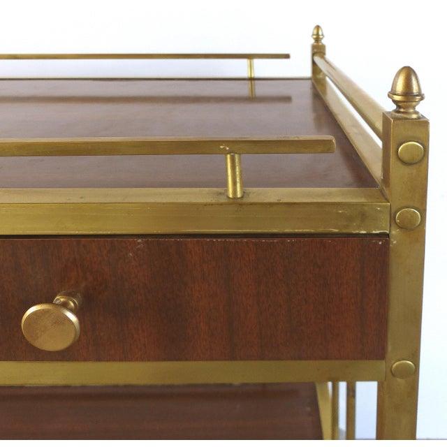 Bi-Level Brass Rolling Bar Trolley W/ Wood Accents - Image 7 of 10