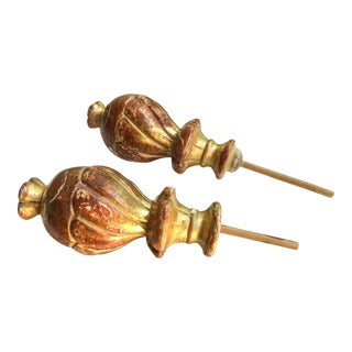 Antique Italian Rust & Gold Finials, a Pair