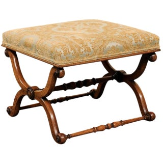 English Mid-19th Century Upholstered Walnut Stool with X-Style Scrolled Legs