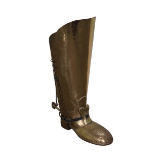 English Brass Boot Umbrella Cane Stand