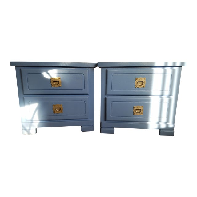 Handpainted Light Blue Nightstands - a Pair - Image 1 of 6