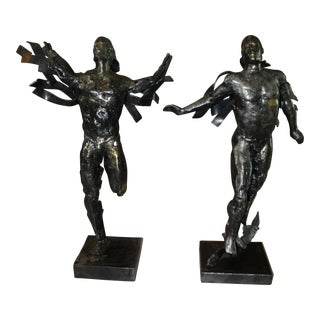Olympic Men in Motion Steel Sculptures - A Pair