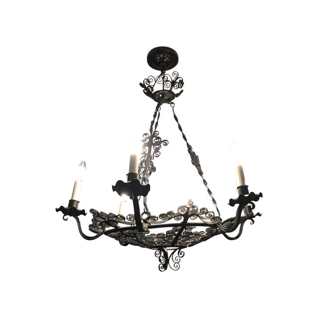 1930s Wrought Iron Spanish Chandelier - Image 1 of 4
