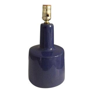 Vintage Mid-Century Modern Martz Glazed Pottery Lamp Blue