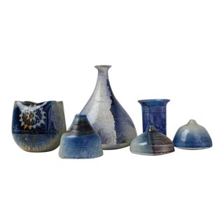 Franco Agnese Set of Six Ceramic Vases in Blue, France, 1960s
