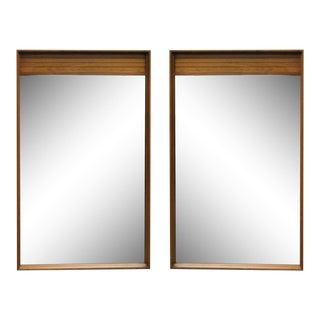 Mid-Century American Modern Walnut Rectangular Mirrors - A Pair