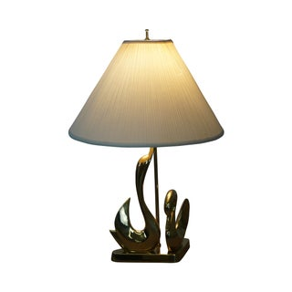 Vintage Italian Brass Swan Elegant Table Lamp