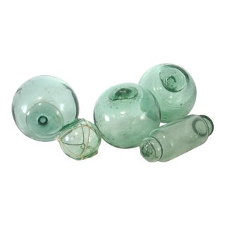 Green & Blue Glass Floats - Set of 5