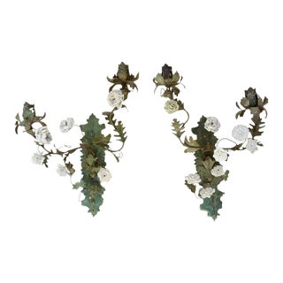 Pair of Italian Tole and Porcelain Two-Light Wall Appliqués, 19th Century