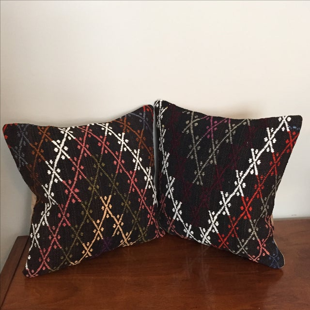 Vintage Kilim Throw Pillows - Pair - Image 3 of 6