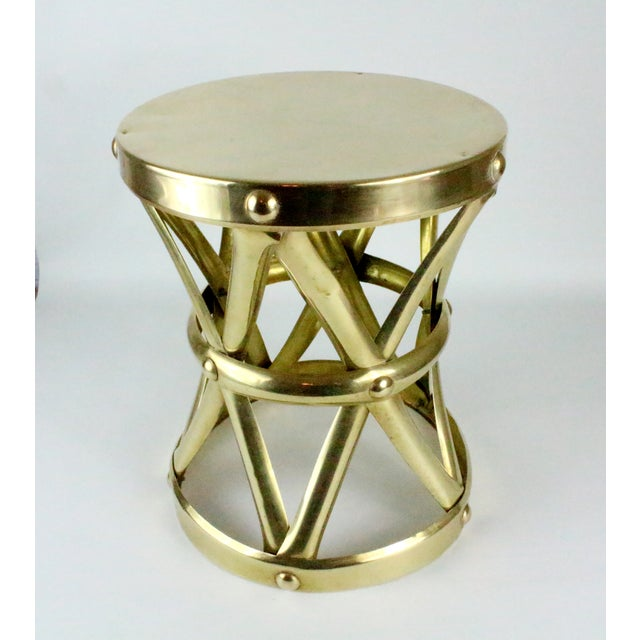 Mid Century Brass X Drum Stool - Image 3 of 8