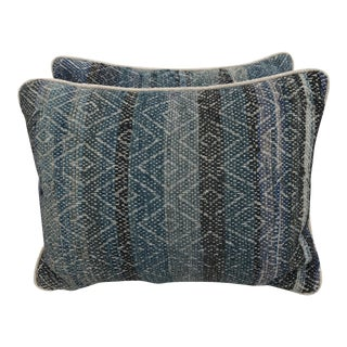 Handwoven Blue Patterned Pillows - A Pair
