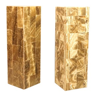 Sculptural Tall Tessellated Stone Table Lamps - A Pair